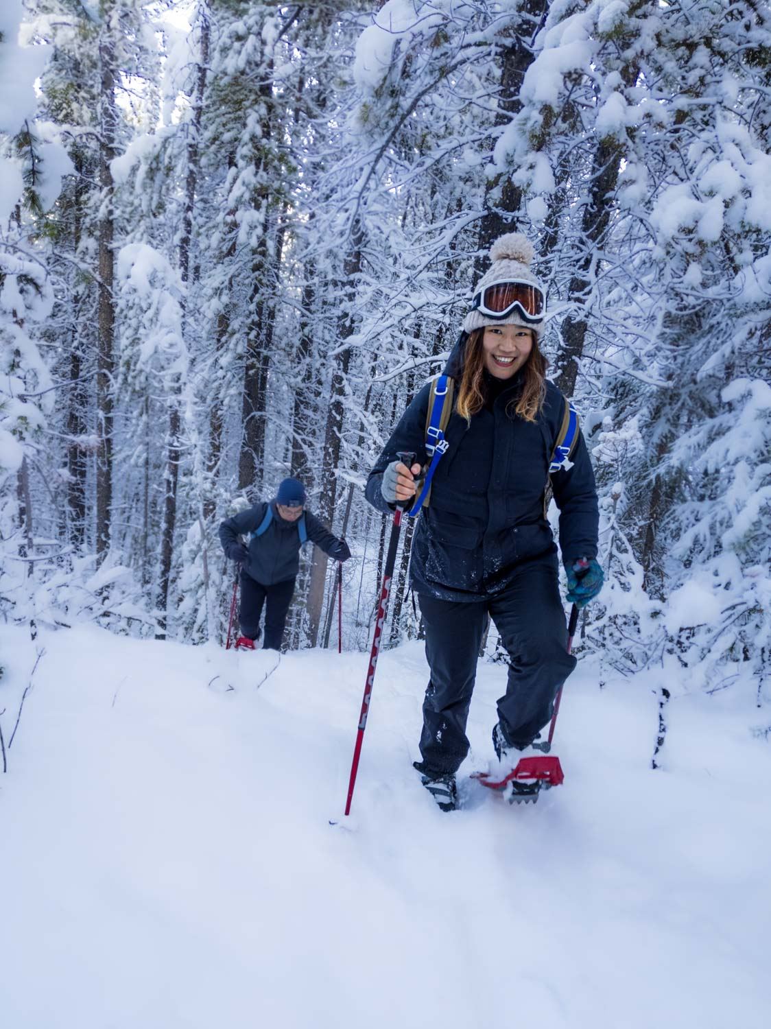 Snowshoeing along the Cline River