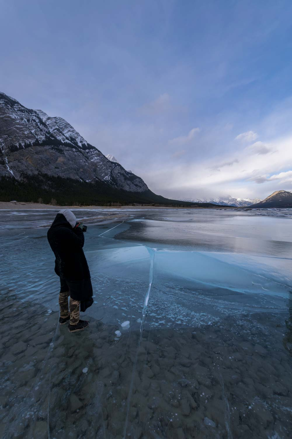 Walking on shallow ice at Preacher's Point