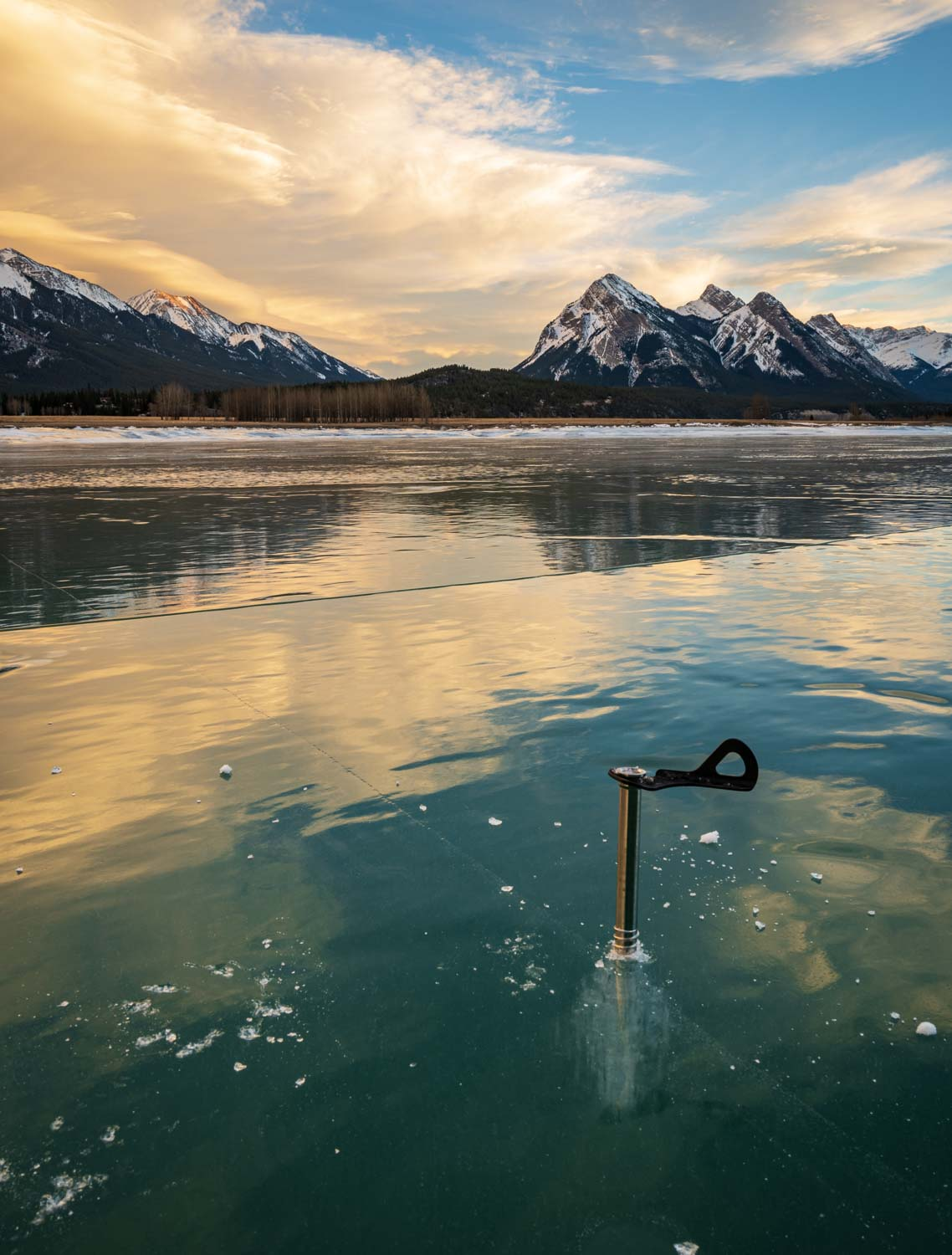 Testing ice conditions on Abraham Lake