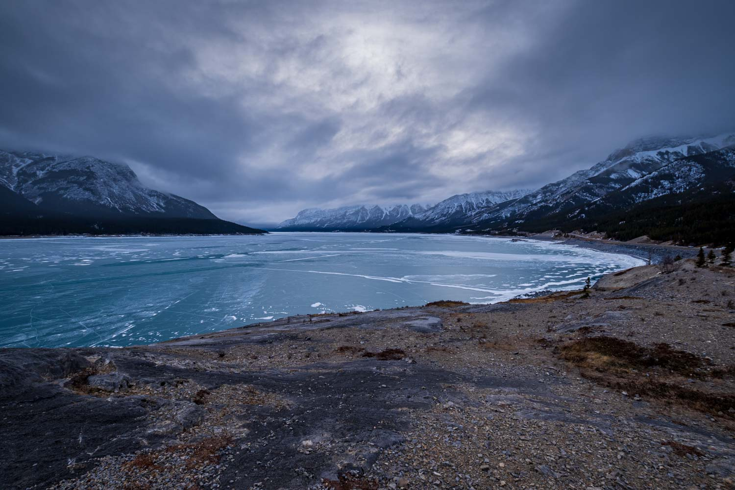 A moody day on Abraham Lake